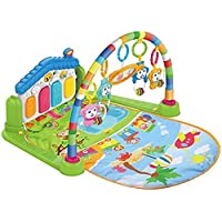 COOLBABY Large Play & Learn Infant Gym Toys Piano Activity - Baby Kick and Gym Play Mat Lay & Play 3 in 1 Fitness Music and Lights Fun Piano for 0-36 Months Girl Boy - Easy to Disassemble and Washable