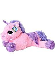 TE-Trend Plüschpferd Einhorn Unicorn liegend 60cm pink mit lila Applikationen und Flügel