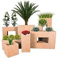 Pflanzwerk® Jardinera Fibra de Vidrio Cube Terracota 28x28x28cm *Maceta a Prueba de heladas* *Protección UV* *Calidad Europeo*