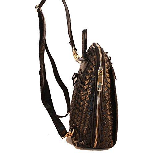 leder - rucksack handgewebten schaffell tasche stil der mode Schwarz