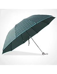 GAOLILI Paraguas cortavientos tres veces, paraguas rayado arte, hombres grandes dobles y paraguas plegable