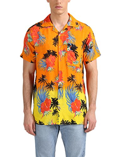 Lower East Herren Hawaii-Hemd, Orange/Gelb, L