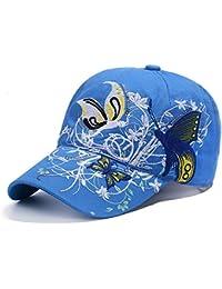 Gorra de béisbol mujer sombrero de sol playa hip-hop en algodón bordado  mariposa gorra visera ajustable Snapback Sport anti-UV protección… 3940ad1e031