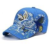 Cappello da baseball da donna, cappello da sole, spiaggia, hip-hop, in cotone, ricamo a farfalla, visiera regolabile, per sport, anti-UV, protezione solare per golf, campeggio, viaggi, vacanze, blu