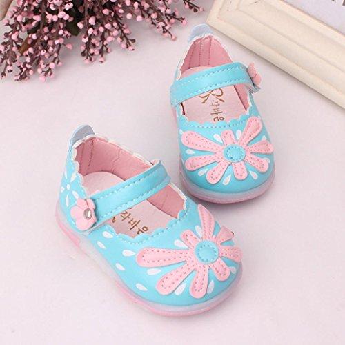 Pour 3-5,5 ans Bébé,Transer ® Mignonne fleur Éclairé Toddler chaussures souples anti-dérapant Princess chaussons fille Bleu