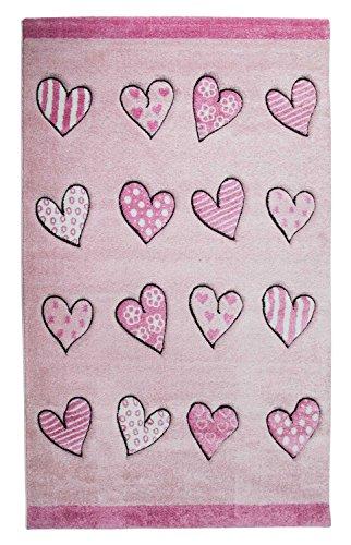 Kinderteppich Bettvorleger Spielunterlage MOMO | 133x190 cm | Rosa | Herzen