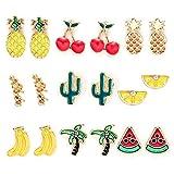 9 Paar Ohrstecker Bunte Obst Thema Ohrringe Set Stecker für Damen Mädchen