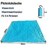 Upgraded Picnic manta impermeable–Portátil playa alfombrilla alfombra de bolsillo y arena prueba–tamaño grande ligero para Camping senderismo viajes 200x 200cm (lago azul)