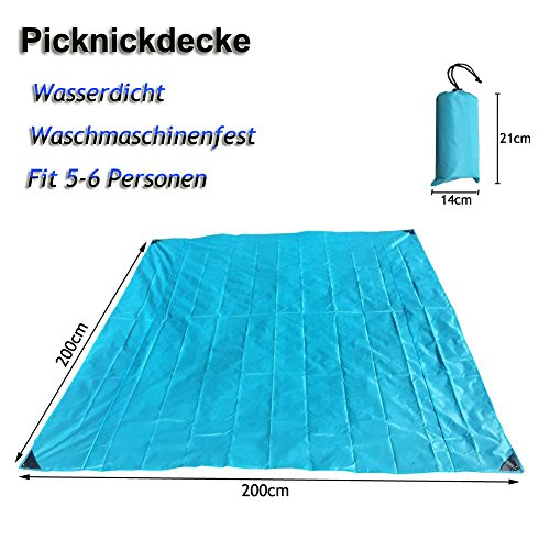 Picnic Blanket Waterproof - Portable Beach Mat Sandproof Blanket - Pocket Rug Lightweight for Camping Hiking Traveling 200x200cm