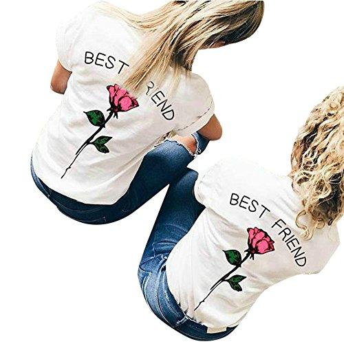 Rose Damen Henley (Damen weiße T-Shirts Best friend Briefe Rose bedruckte Blusen T-Shirts runden Hals lässigen Tops (M, Pink))
