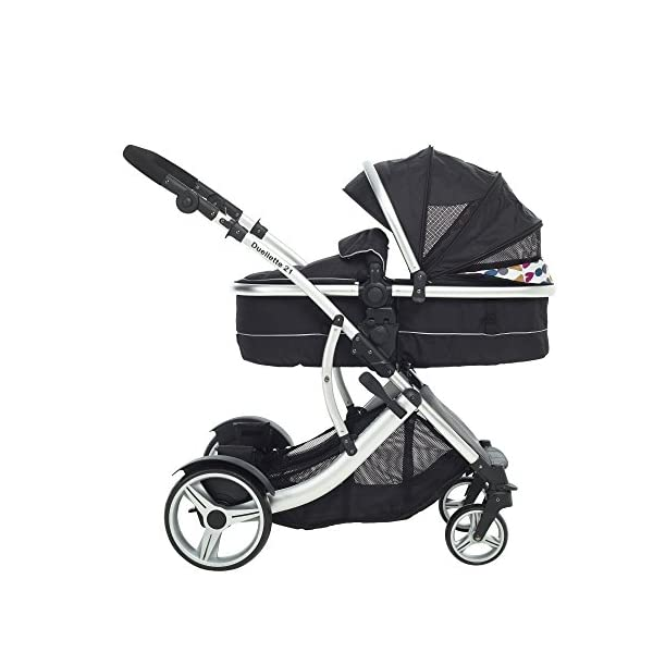 Duellette 21 Combo Twin Tandem Pushchair Baby Newborn carrycots Pram Travel system : 2 Pramette/seat units, 2 FREE Black footmuffs 2 Rain covers, Midnight Black by Kids Kargo Kids Kargo Demo video please see link https://www.youtube.com/watch?v=X_tEcnQ8O8E Compatible with car seats; Kids Kargo, Britax Baby safe or Maxi Cosi adaptors. Versatile. Suitable for Newborn Twins: Both carrycots have mattress and soft lining, which zip off. Remove lining and lid, when baby grows out of carrycot mode. Converts to a full sized seat unit, with 5 point harness. 9