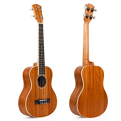 Kmise Mahagoni Top Tenor Ukulele 66cm Hawaii Gitarre Rosette Schallloch Abalone matt