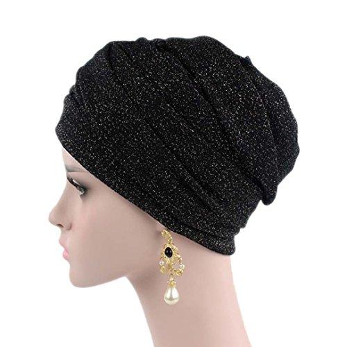 Mitlfuny Damen Moslemischer Turban MüTze Kopf Schal Wrap Kopftuch Kopfbedeckung FüR Haarverlust Krebs Chemo Cancer Patienten Bandana SchlafmüTze Longbeanie (Schwarz)