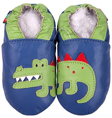 Carozoo Crocodile Blue S Baby Chaussures en Cuir Chaussons Semelle