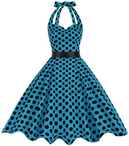 Bbonlinedress modèle 5 Vintage rétro 1950's Audrey Hepburn robe de soirée cocktail année 50 Rockabilly Blue Black BDot