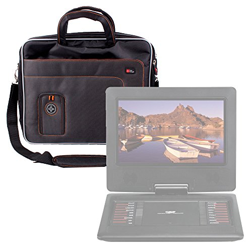 DURAGADGET 15 6  Black Orange Briefcase Bag - Compatible with the BW 12 1 Inch Portable DVD Player   BW 14 Inch Portable DVD Player