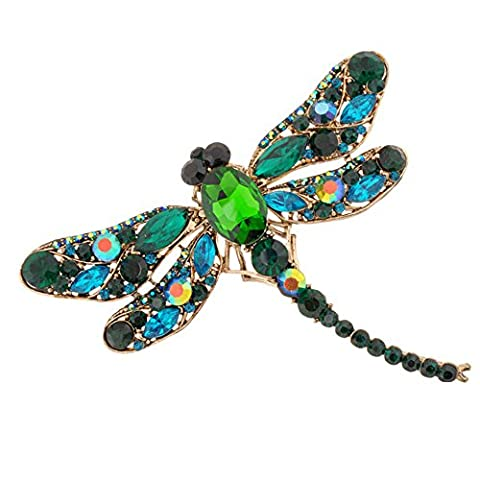 Sanwood Women's Dragonfly Crystal Brooch Rhinestone Pin Jewelry (Green)