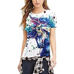 HX fashion Camiseta Mujer Verano Unicornio Impresión Manga Corta Cuello Redondo Slim Fit T-Shirt Para Mujeres Hombre Unisex Classic Chic Casual Camisetas Tops