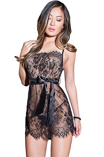 neuf-pour-femmes-2-pcs-noir-cils-en-dentelle-et-ruban-lingerie-babydoll-sous-vetements-strip-teaseus