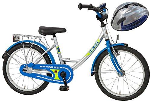 Bachtenkirch Kinderfahrrad Blau/Silber 18 Zoll POLIZEI mit Fahrradhelm (434-PZ-40)
