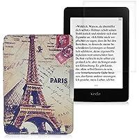 kwmobile 2in1:Elegante borsa di ecopelle per il Amazon Kindle Paperwhite in Design urbano (Parigi) beige + Pellicola, cristallino
