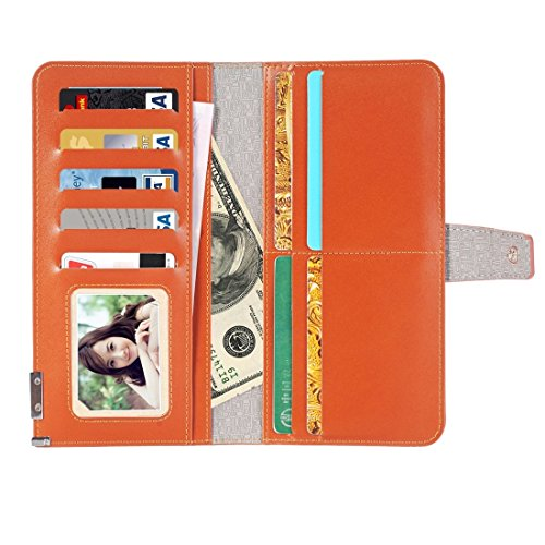 DaYiYang Case Cover Universal Horizontale Flip Leder Tasche mit Crad Slots & Wallet & Bilderrahmen & Magnetverschluss für iPhone 7 Plus & 6s Plus & 6 Plus & 6s & 6, Samsung Galaxy S7 Edge & S7 & S6, H Brown