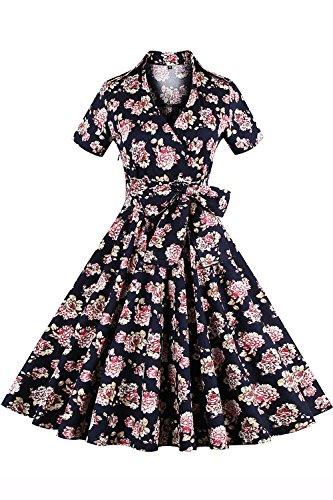 Babyonlinedress Robe de soirée/Bal Courte Rétro Vintage année 40/50 avec Manches Courtes, Style Audrey Hepburn Rockabilly Swing Fleur