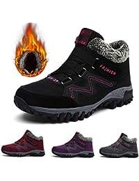 Gracosy Bottes de Neige Femme Filles, Chaussures de Sports Randonnée Hiver  en Suède Bottines Fourrées 163ac6f8255c