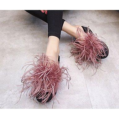 LvYuan Da donna-Pantofole e infradito-Casual-Comoda-Quadrato-PU (Poliuretano)-Nero Rosso Red