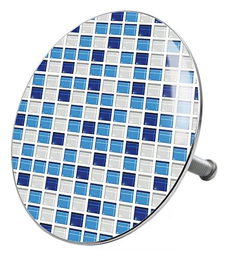 Badewannenstöpsel Mosaik Blau, deckt den kompletten Abflussbereich ab, hochwertige Qualität ✶✶✶✶✶