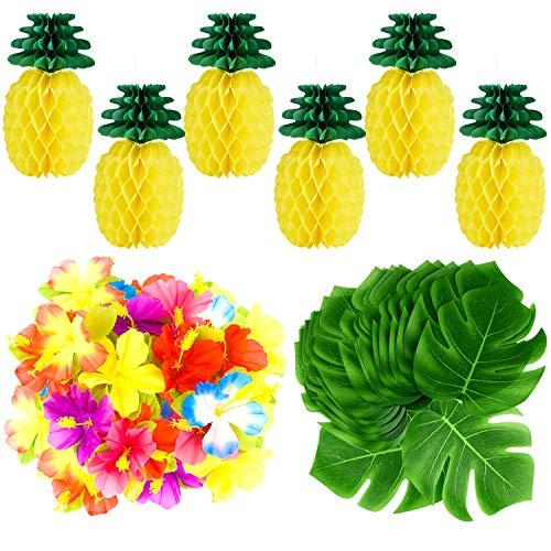 TUPARKA 66 Stück Tropische Luau Party Dekoration, 6 Stück Seidenpapier Ananas mit 30 Stück Tropische Blätter 30 Stück Hibiskus Blumen für Hawaiian Flamingo Ananas Aloha Party Dekorationen Lieferungen - Hibiskus-blumen Papier