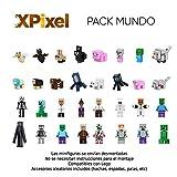 Spainbox Confezione da 32 Minifigure Pixel - Compatibile con Lego e articolabili - Richiede Il Montaggio - Include Accessori Casuali (Spade, picconi, ASCE, Pale, Archi, ECC.) - Versione Mondo