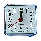 Doublehero Quadratisches Kunststoff Kleines Bett Kompakter Wecker Cute Portable (Blau)