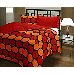 Factorywala Floral Red Polka Print Super Soft and Warm Micro Fiber Single Bed Red Dohar/AC Comfort/Blanket/Quilt ( Size 60X 90 Inch) Get Free 1 Gold Plated Alloy Chain