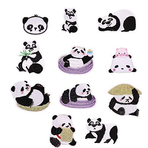 11 Stück Lovely Panda Patch Stickerei Patches zum Aufbügeln oder Aufnähen
