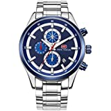 Mini Focus Mens Quartz Watch, Chronograph Display and Stainless Steel Strap - MF0081G.03