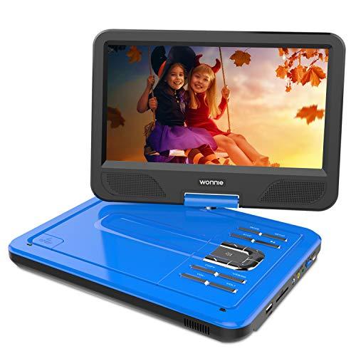 """WONNIE 2019-Upgrade 10.5"""" Tragbarer DVD-Player, Schwenkbaren Bildschirm, HD Display 4-5 Stunden Akku, USB/SD Slot, Kinder (Blau)"""