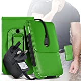 (Green) Doro Secure 580 IUP Case (PU) Leather Belt Clip