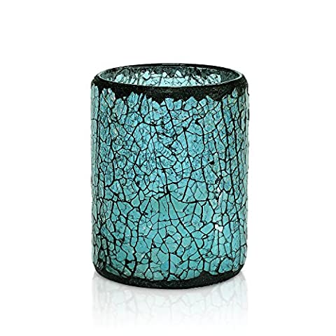 Led Candle , with 4&8 Hours Timer, Battery Operated , Blue Cracked Mosaic Glass, Flicker Candle Light ,For Table & Windows Decorations,3x4 Inch - Base Citronella Lampada