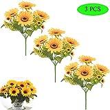 Her Kindness 3 Pcs Künstliche Blumen Sonnenblumen Bündel gefälschte Blumen Künstlicher Sonnenblumen Blumengestecke für Vase Hochzeit Wohnkultur