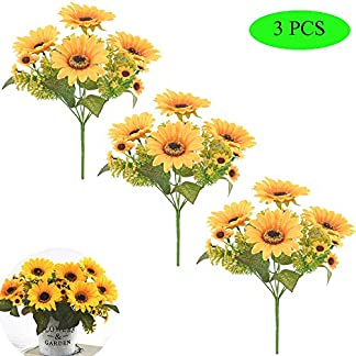 Her Kindness Beautiful Artificial Sunflower Bush de Seda arreglo de Ramo Primavera Hongar Jardín Cocina jarrón Decoración Boda (3 pcs)