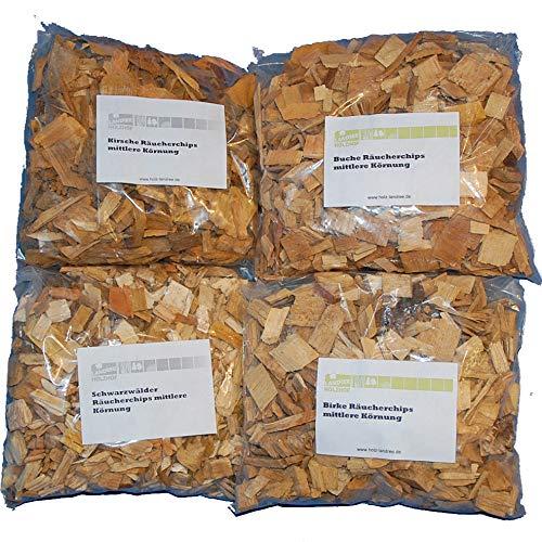 Landree Räucherchips Mix 4 x je 2 Liter (Kirsche, Schwarzwälder, Buche, Birke) Späne Wood Chips für Grill Smoker BBQ (Bbq Smoker Holz-chips)