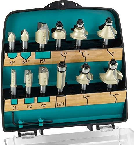 ENT 09012PLUS 12-tlg. DURACUT HM Fräser Set in bruchfester Kunststoffkassette - Oberfräser mit Schaft 8 mm - Nutfräser mit HW-Grundschneide zum Einbohren