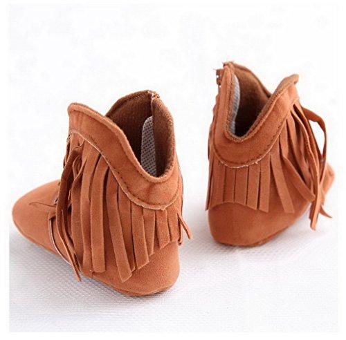 Flying Hedwig Unisex Baby Säuglings Schuhe Stiefel Prewalker Weiche Sohle Kleinkind Schuhe mit Troddel 0-18 Monate Khaki