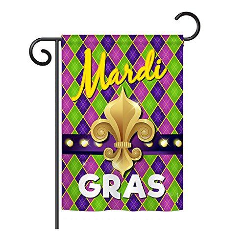 Breeze Decor G168010 Mardi Gras Fleur de LYS Spring Mardi Gras Impressions Dekorative vertikale Gartenflagge, 33 x 47 cm, Bedruckt in den USA, ()