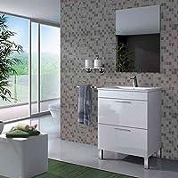 SERMAHOME- Conjunto de Baño modelo ATLAS. Mueble lavabo+ Espejo+ Lavabo. Color Blanco Brillo-Lacado. Medidas Mueble: 80 cm alto x 60 cm ancho x 45 cm profundo. Medidas Espejo: 80 cm alto x 57 cm alto. - mueblesdebanoprecios.eu - Comparador de precios