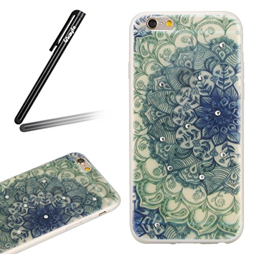 Coque Housse Etui pour iPhone 6 Plus/6S Plus, iPhone 6S Plus Coque en Silcone avec Bling Diamant, iPhone 6 Plus Coque Noctilucent Souple Slim Etui Housse, iPhone 6 Plus/6S Plus Silicone Case Soft Gel  Demi-fleur d'émeraude