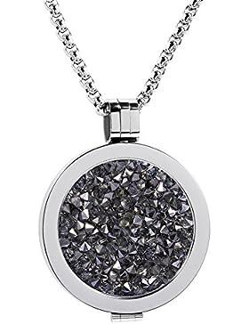 Meilanty Coin 33mm Edelstahl Silber Damen Halskette mit 80cm Ketten WZ-E