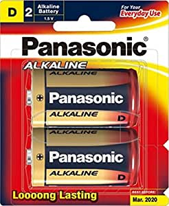 Panasonic Battery Alkaline LR20T/2B D-Size LR20 Battery - Pack of 2 (Multicolor)