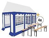 Stagecaptain Bavaria Tendone per feste Pavillon 3x6m Set con 4 completi di panche e tavoli